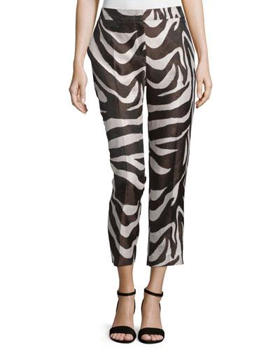Mid-Rise Zebra-Print Cropped Pants, Mocca