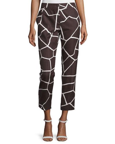 Mid-Rise Giraffe-Print Cropped Pants, Mocca