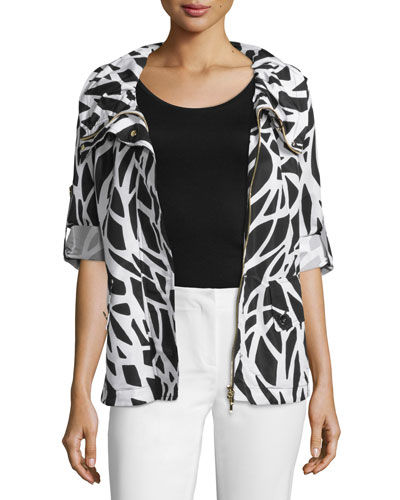 Zip-Front Tabbed-Sleeve Jacket, Black