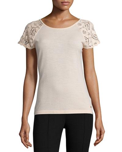 Lace-Sleeve Slim-Fit Top, Rose Quartz