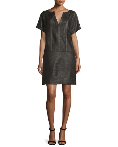 Split-Neck Leather Shift Dress, Ebony