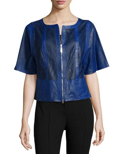 Short-Sleeve Zip-Front Leather Jacket, Majorelle Blue