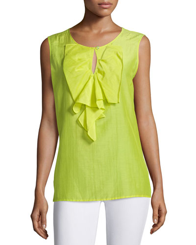 Sleeveless Ruffle-Front Top, Kiwi