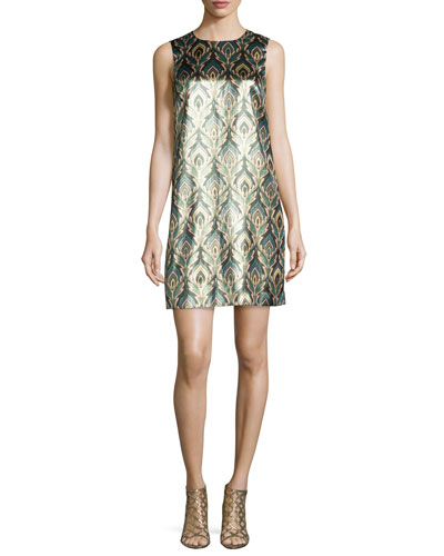 Sleeveless Lurex® Flame-Print Shift Dress, Black