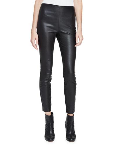 Josephine Leather Combo Leggings, Black