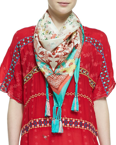 Embroidered & Printed Silk Georgette Scarf