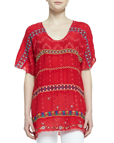 Colorful Daisy Eyelet Blouse, Fiery Red, Petite