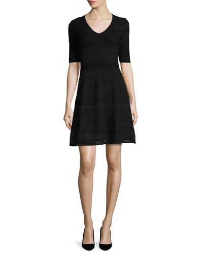Short-Sleeve Mix-Stitched A-Line Dress, Black