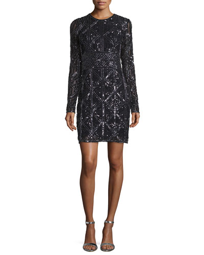 Long-Sleeve Beaded Cocktail Dress, Black