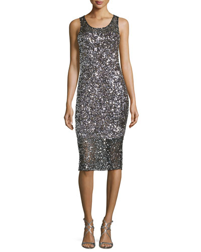 Sleeveless Sequined Cocktail Dress, Silver