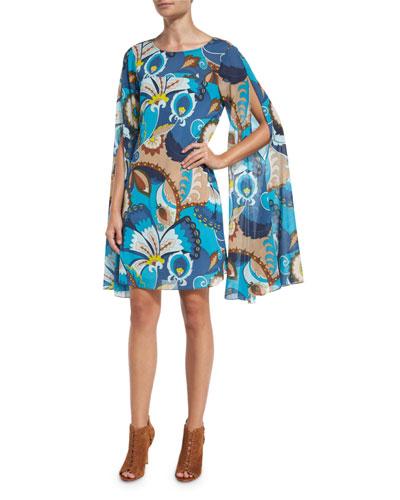 Sleeveless Floral Silk Cape Dress, Peacock