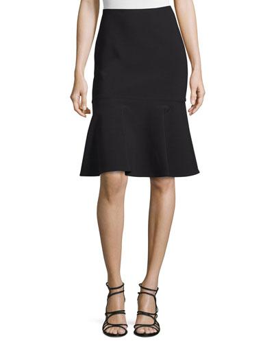 High-Waist Flounce-Hem Skirt, Jet Black