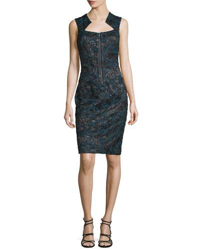 Starr Zip-Front Sheath Dress, Jet Black