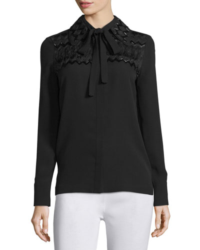 Long-Sleeve Tie-Neck Embroidered Blouse, Jet Black