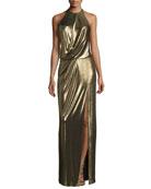 Metallic Halter Column Gown, Bronze