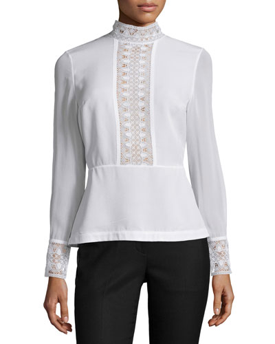 Long-Sleeve Lace-Inset Peplum Top, Optic White