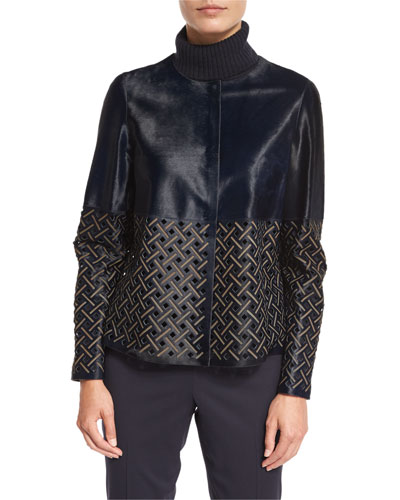 Tansy Colorblocked Laser-Cut Leather Jacket, Delft