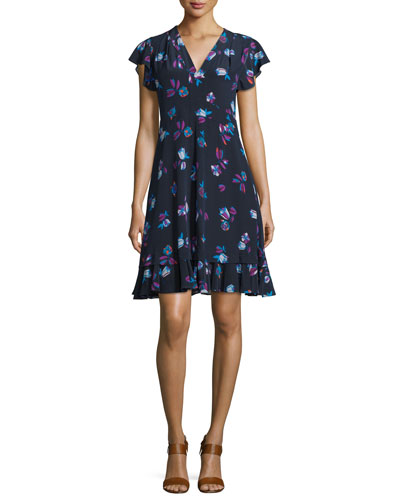 Floral-Print Silk V-Neck Dress