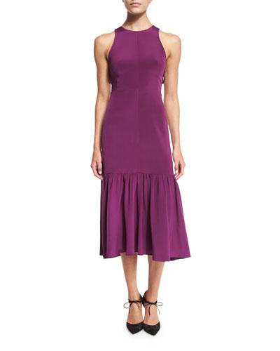 Sleeveless Smocked Midi Dress, Sugar Beet