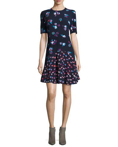 Mixed-Floral A-Line Dress, Navy