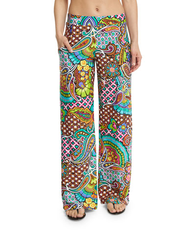 Madagascar Paisley-Print Wide-Leg Coverup Pants
