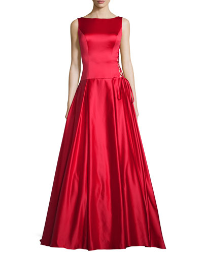 Sleeveless Pleated Satin Ball Gown, Red