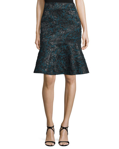 High-Waist Flounce-Hem Skirt, Jet/Multi