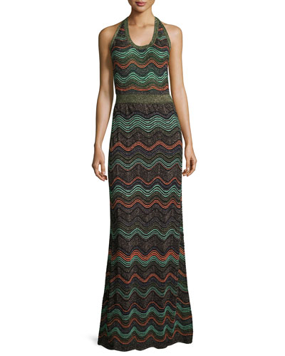 Metallic Wavy Knit Halter Gown, Black