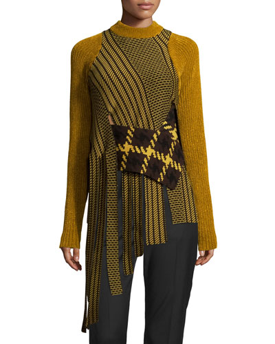 Draped Jacquard Crewneck Pullover Sweater, Dark Sulfur