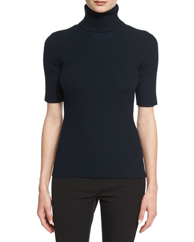 Ribbed Half-Sleeve Turtleneck Top, Sapphire