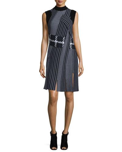 Draped Jacquard Tank Dress, Sapphire