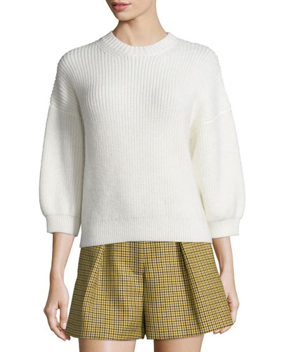 Ribbed 3/4-Sleeve Crewneck Pullover Sweater, Antique White