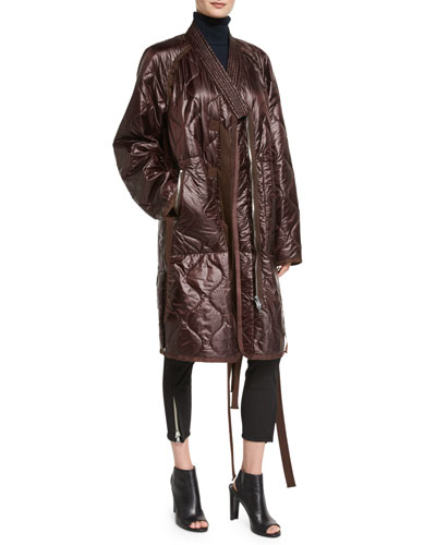 Long Quilted Utility Kimono Jacket, Bordeaux