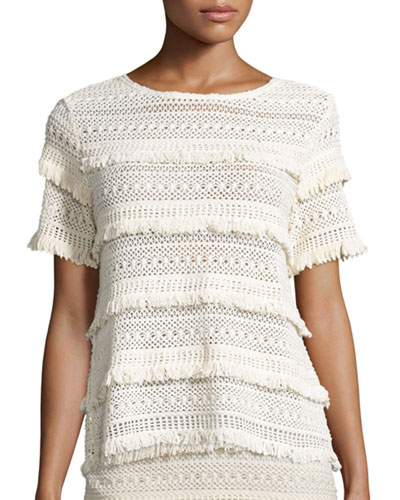 Rafel Short-Sleeve Fringed Crochet Top, Natural