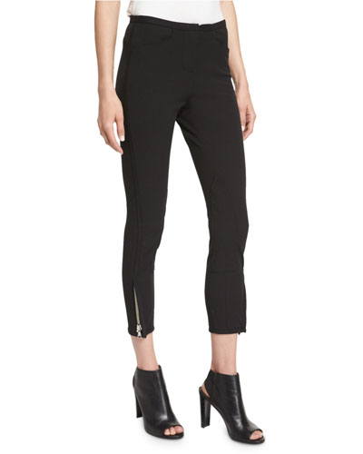 Jodhpur Ankle-Zip Leggings, Black