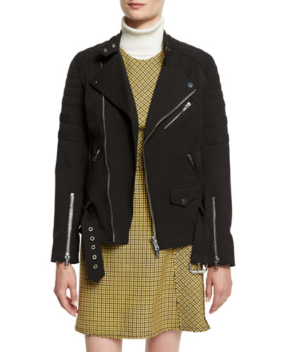 Sculpted Zip-Trim Moto Jacket, Black