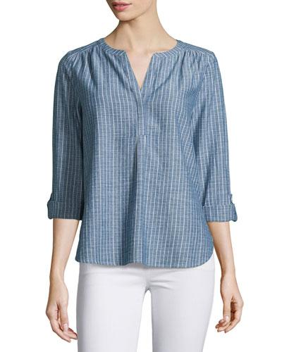 Kalan Striped 3/4-Sleeve Top