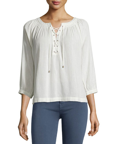 Bordeaux Lace-Up 3/4-Sleeve Top, Natural