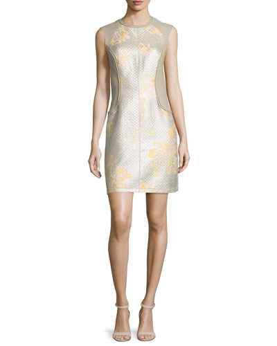 Sleeveless Metallic Contour Dress, Sunflower Platinum