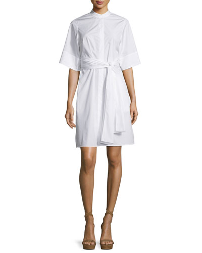 Short-Sleeve Belted Poplin Shirtdress, White