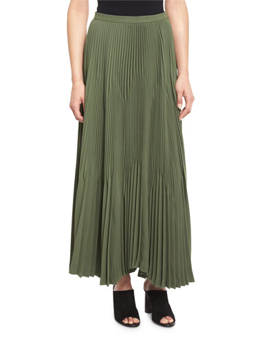 Laire Winslow Crepe Plisse Skirt, Pine