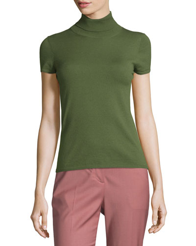 Agy C Evian Short-Sleeve Sweater, Spring Green