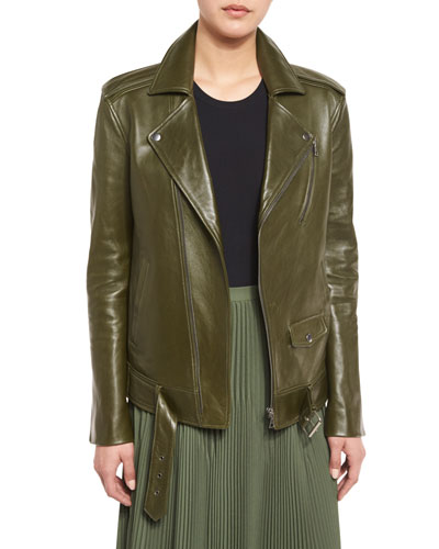 Tralsmin Wilmore Leather Biker Jacket, Stem Green