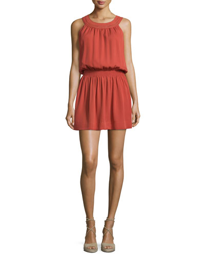 Sonja Sleeveless Silk Dress, Burnt Rose