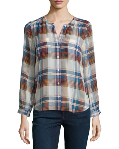 Safford Plaid Silk Long-Sleeve Top