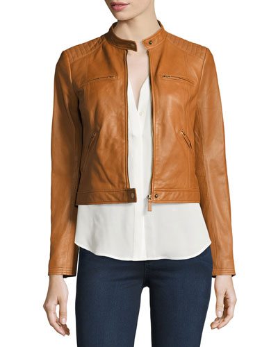 Dezra Leather Moto Jacket, Vintage Cognac
