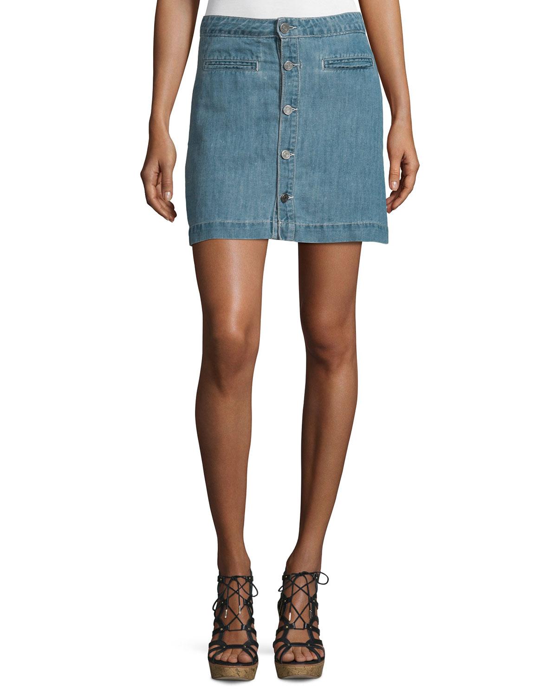 Jemme Sea Wash Button-Front Denim Skirt