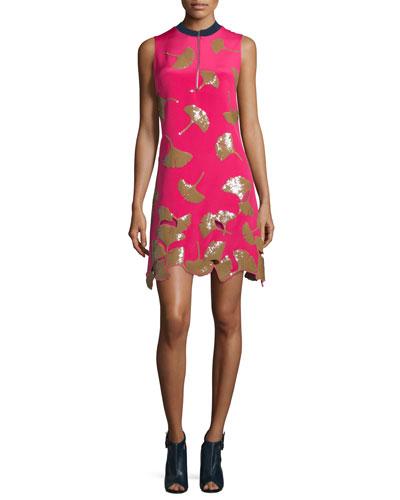 Gingko-Embellished Shift Dress, Bright Cerise