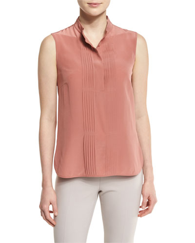 Stand-Collar Tuxedo-Front Cami, Blush