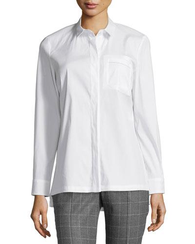 Long-Sleeve Button-Front Poplin Shirt